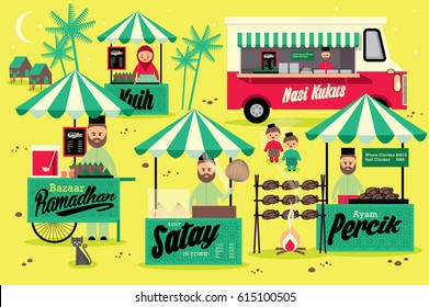 bazaar ramadan template vector/illustration with malay words that mean steamed rice, percik chicken & cakes