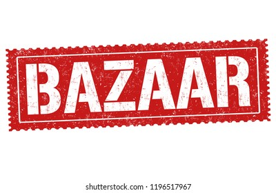 Bazaar sign or stamp on white background, vector illustration