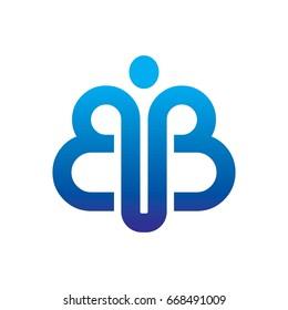 BB Abstract Human Initials Logo