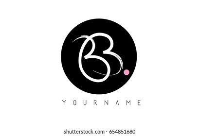 BB Brush Letter Logo Design with Black Circle and Handwritten Letters.
