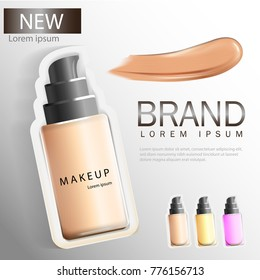 BB Cream ads, compact foundation, attractive makeup products with textures isolated from the glittering 3d background image.