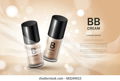 BB cream ads, two glass bottles with cosmetic base and silk texture floating on the background in 3d illustration