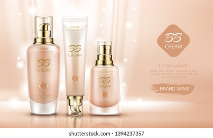 Bb cream beauty cosmetics bottles mockup for skin foundation. Make up cosmetic product line tubes packaging set, promo background design, advertising poster. Realistic 3d vector illustration, banner.