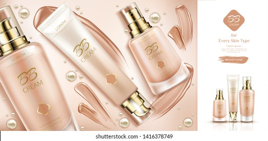 Bb cream beauty cosmetics and smears for skin foundation. Bottles packaging mockup, make up cosmetic product line, promo background design, advertising poster. Realistic 3d vector illustration, banner