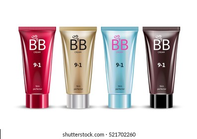 B.B. cream in different color of packages. Vector illustration of realistic packages of makeup foundation tubes.