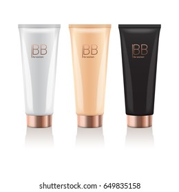 B.B. cream in different color of realistic tubes with gold cap. Vector mockup of packages of makeup foundation for your design