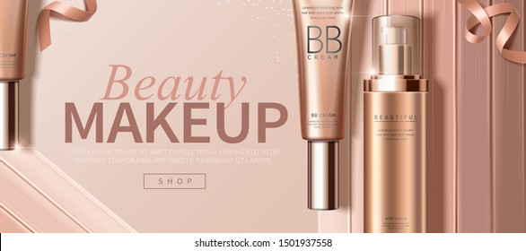 BB cream foundation ads with creamy texture in 3d illustration