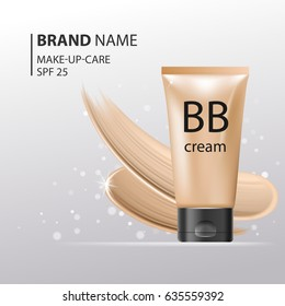 BB Cream plastic tube Template. Makeup mockup for ads or magazine whith liquid foundation on glitter sparkle background. 3D Realistic Vector Iillustration. EPS10