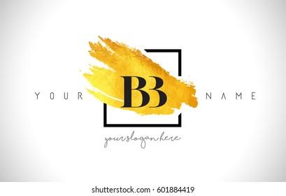 BB Golden Letter Logo Design with Creative Gold Brush Stroke and Black Frame.