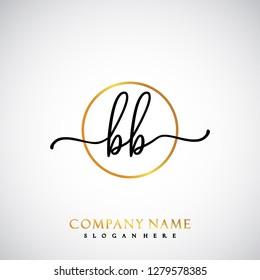 BB Initial Handwriting logo template vector