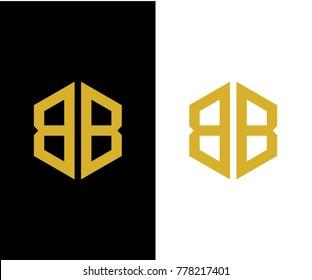 BB initial hexagon icon. letter. logo design vector eps 10