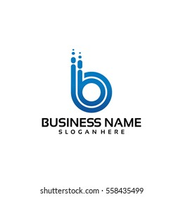 bb initial logo technology in blue color template