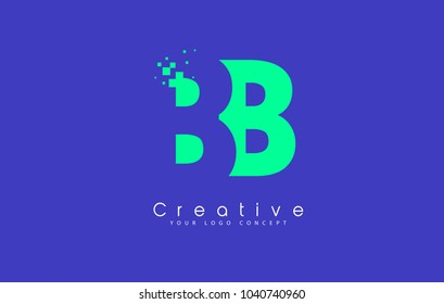 BB Letter Logo Design With Negative Space Concept in Blue and Green Colors Vector
