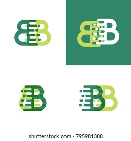 BB letters logo with accent speed in light green and dark green