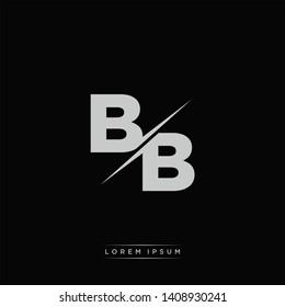 BB Logo Letter Monogram Slash with Modern logo template on Black Color and White background