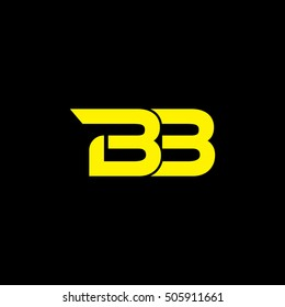 BB Logo Vector. Yellow On Black Background