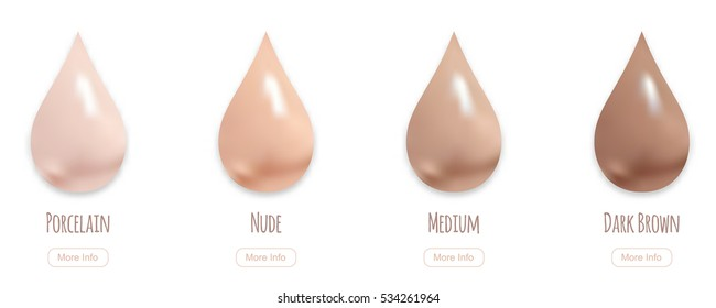 BB makeup cream drops, vector illustration. Realistic liquid tone isolated on white. Cosmetics liquid vector elements.