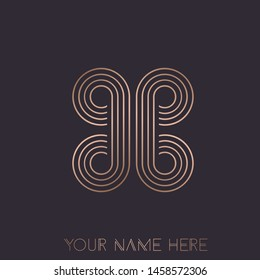 BB monogram logo.Typographic decorative icon with double letter b.Uppercase initials.Thin lines lettering sign.Abstract shape in rose gold metal color isolated on dark fund.Beauty, luxury spa style.