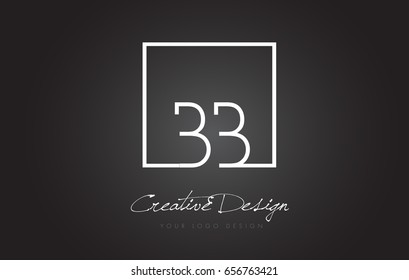 BB Square Framed Letter Logo Design Vector with Black and White Colors.