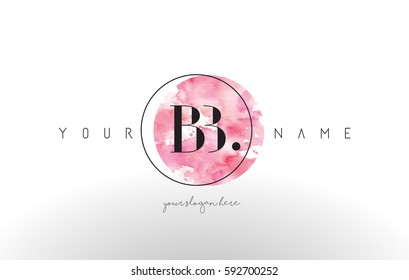 BB Watercolor Letter Logo Design with Circular Pink Brush Stroke.