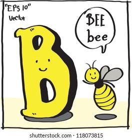 B-Bee cartoon alphabet vector.