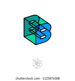B-box letter. 3D B monogram. Abstract volume logo. Transparent glass figure as B letter.
