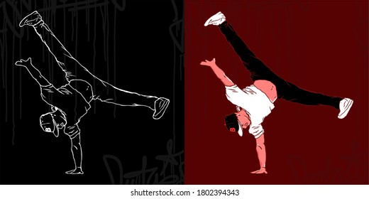 Bboys Abstract Silhouettes Vector Illustration Hiphop Graffiti Style Art