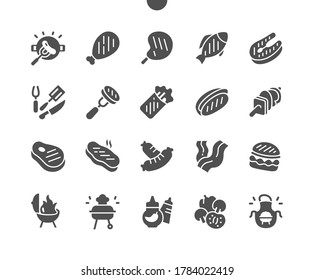 BBQ 2 Well-crafted Pixel Perfect Vector Solid Icons 30 2x Grid for Web Graphics and Apps. Simple Minimal Pictogram