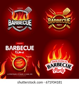 BBQ 4 colorful poster designs, party design, invitation, ad design. Barbecue logo. BBQ template menu design. Barbecue Food flyer. Barbecue advertisement.