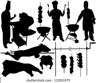 BBQ (barbecue), chef, spit, pork, beef, skewer vector silhouettes. Layered. Fully editable