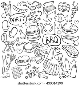 BBQ Barbecue Day Doodle Icons Hand Made. Vector Illustration Party Food.