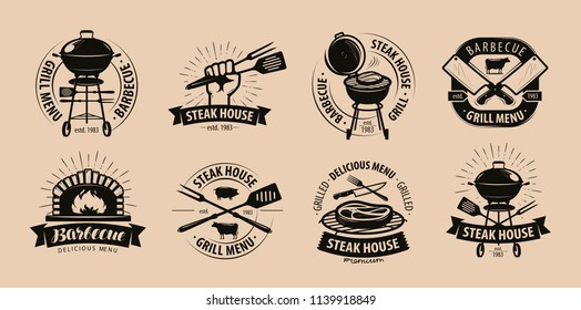 BBQ, barbecue, grill logo or icons. Labels for the menu of restaurant or cafe. Vector illustration
