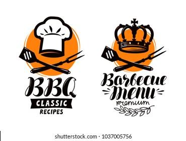 BBQ, barbecue logo or label. Element for restaurant menu design. Food vector illustration
