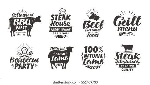 BBQ, barbecue, meat labels. Collection elements for menu design restaurant or cafe. Vector illustration