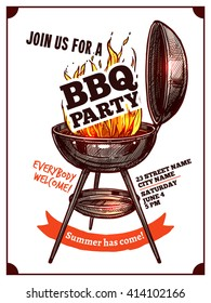 Bbq Barbecue Vintage Party Poster With Fire And Typography