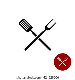 BBQ barbeque tools crossed black simple silhouette. Meat fork with spatula cross.
