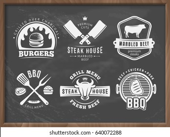 BBQ, burger, grill badges. Set of vector barbecue logos. Retro emblems for steak house or grill bar on grungy chalkboard background