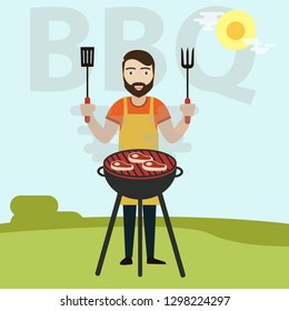 BBQ Cooking Vector. Man Cook Grill Meat On Bbq. Isolated Flat Cartoon Character Illustration - Vector illustration