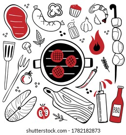Bbq doodle set. Hand drawn modern barbeque cooking food collection, meat, vegetables and tools for grill party, vector illustration for restaurant cafe menus, banner or poster design elements