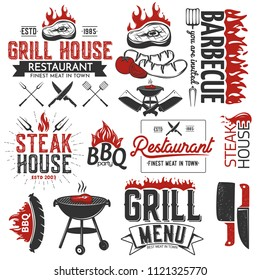 BBQ elements isolated on white.Vector illustration.