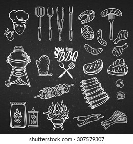 BBQ Feast Party Set,vintage engraving style, Isolated vector illustration, hand drawn elements.  White line on the black .
