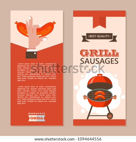 BBQ Finest Beef Delicious Sausages Grilled Stock Vector Royalty
