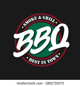 BBQ food label. Vector illustration with hand drawn bold lettering typography, best in town smoke and grill text isolated on black background. Logo design template for barbecue restaurant, bar menu