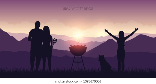 bbq with friends in the mountains purple landscape at sunset vector illustration EPS10