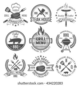 BBQ graphic flat emblems with grill tongs forks spatulas roasted meat sausage fire cap isolated vector illustration