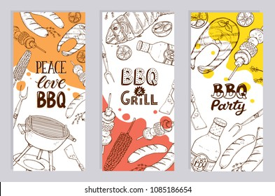 BBQ and grill banners with sketch objects. Hand drawn barbecue elements around decorative text. BBQ party. Grill time.