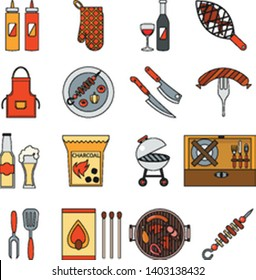 BBQ grill barbecue cooking meat steak picnic nature party isometric outline flat design icons set vector illustration