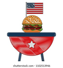 bbq grill with burger and american flag