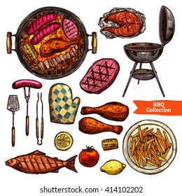 Bbq Grill Color Sketch Set. Hand Drawn Barbecue Collection