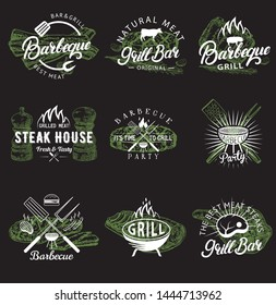 Bbq and grill emblem, logo, label and badge set, vector hand drawn illustration in retro style. Steak house restaurant menu, barbecue party, grill bar vintage typography design.